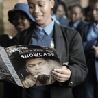 A government school student reads the Shakespeare Lives in Botswana Showcase programme photographer Monirul Bhuiyan