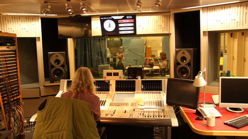Recording Joanne in studio with Marion photo Rob Thomson BBC